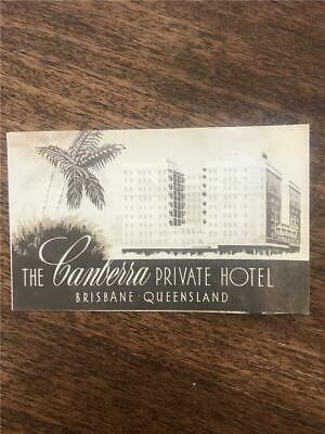 C 1940 The Canberra Hotel rates brochure architect Queensland Prohibition League