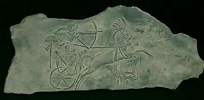 RARE ANTIQUE ANCIENT EGYPTIAN Stela King RAMSES War Chariot Arrows 1279-1213 BC