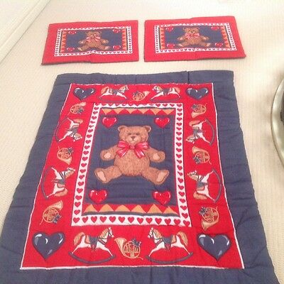 Cot QuIlt Cover / Blanket  / Mat - Teddy Bears with 2 Pillow Cases