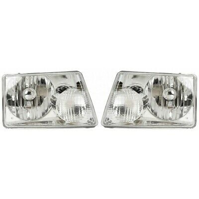 Fits 2001-2011 Ford Ranger Pair Head Lights Driver and RH - Bulbs Incl.