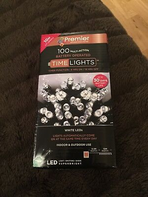 100 White LED Lights, New In Box