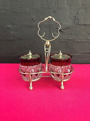 Vintage Glass Preserve Jam Jars On A Silver Plated Stand Red Ruby Orange EPNS