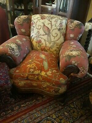 Antique Oak French Tub  Wing Chairs Lounge Suite Chesterfield Sofa Restored 🌹