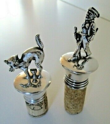 2 Silver Plated Wine Bottle Stoppers, Dick Whittington and his Cat?