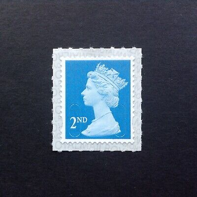 GB Error 2nd Class M18 MAIL Vertical Blue Line Flaw Self Adhesive Mint