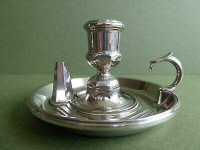 SUPERB Orig Vintage SILVER PLATED? Chamberstick/ Candlestick & snuffer c1930-50