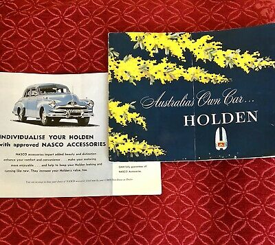 FJ Holden Brochure And Nasco Accessories Lift Out Genuine Vintage Wattle On Navy