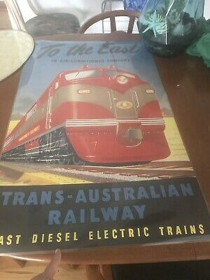 Commonwealth Railways Poster TROMPF Vintage Australian Train