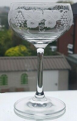 Fabulous Victorian Style Grape & Vine  Engraved Champagne Glasses /Coupes