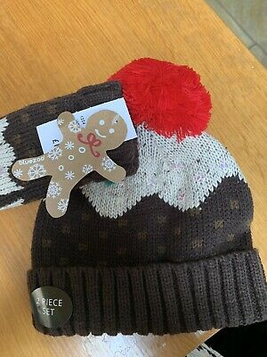 Childs Hat And Mitten Set Xmas