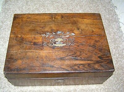 Antique Victorian Rosewood Jewellery/Trinket Box, Brass & Mop - For Restoration.