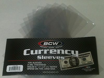 10 BCW Regular Dollar Bill Currency Sleeves-Money Holders-Protectors-Ships Free.