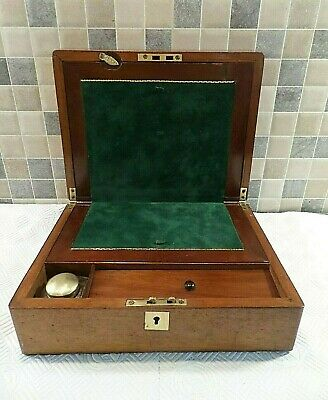 VICTORIAN 19thC INLAID MAHOGANY REFURBISHED WRITING SLOPE + BOTTLE- LOCK & KEY