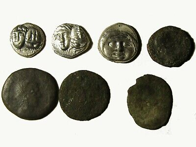Lot Of 7 Ancient Greek And Roman Coins With 3 Greek Obols, Rare