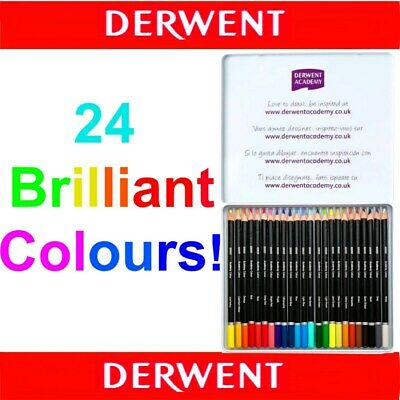 24 Colours Derwent ACADEMY Colour Pencils in Tin - Adult Colouring Books School