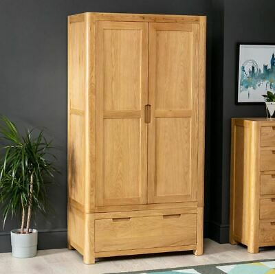 Scandi Curved Oak 2 Door Double Wardrobe with Drawer - SC12