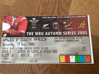 2005-Wales V South Africa-Autumn Test International Rugby Union Match Ticket