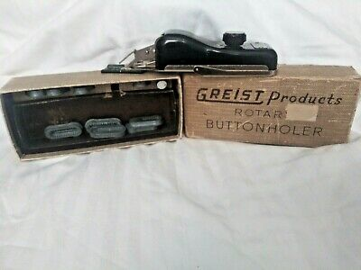 VINTAGE GREIST Rotary Buttonholer, In Original Box, with 9 templates