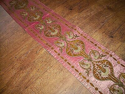Antique Art Nouveau Red & Gold Needlework Table Runner / Wall-Hanging circa 1895