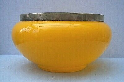 Beautiful Antique 1920s/30s Large Orange Glass Bowl with EPNS Rim Very Pretty