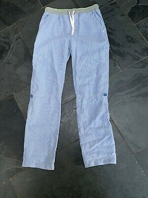 Mini Boden blue girls Striped  Roll Up trousers age 12 years