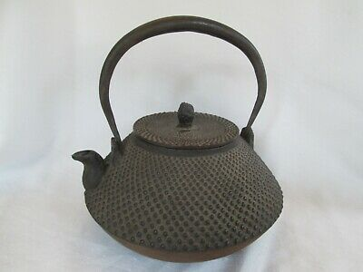 "Vintage Tetsubin Brown Hobnail Pattern Cast Iron 9"" Teapot Japanese Kettle"