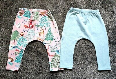 NEXT Baby Girl Leggings Pink Green Woodland Animal Forest Fox Deer 9-12 Months