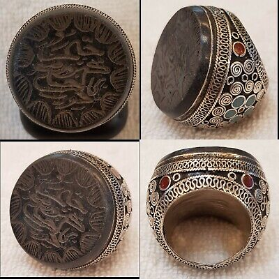 Huge Old Silver Antique Ring With Green  Jade Stone Islamic Calligraphy Intaglio