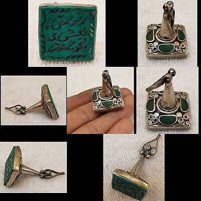 Persian Blessing Calligraphy Carved Silver Old Stamp Pendant Turquoise Stone