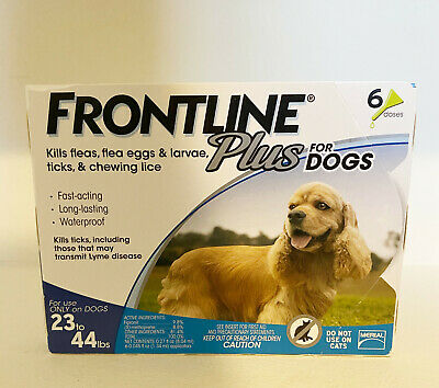 Frontline Plus For Dogs 23-44 lbs - 3 Doses - Free Shipping - New Sealed