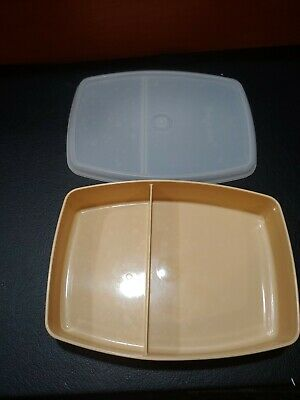 vintage tupperware divided lunch snack container 813 almond
