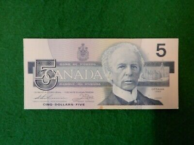 * Canadian Canada 1986 series five 5 dollar bill bills bank note hard to find