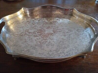 Vintage Sheffield GREYHOUND ASSOCIATION Silver Plate on copper Galleried Tray