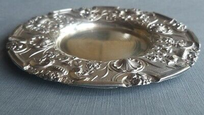 Antique Ornate Solid Sterling Silver Plate Portuguese Engraved Work 833 Marked