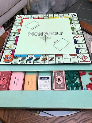 Rare VINTAGE 1960s MONOPOLY BOARD GAME Waddingtons - Full Set Flat Metal Tokens