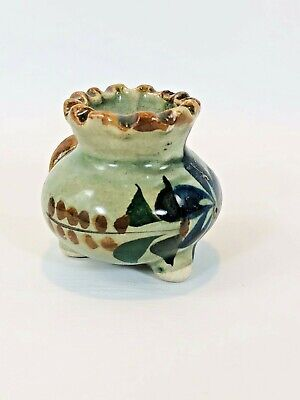 Vintage Miniature Pottery Vessel Hand Painted Indigenous Art Collectible GUC