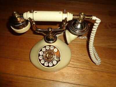 Victorian French Style Rotary Dial Corded Telephone Desk PhoneVINTAGE Cream
