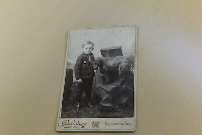 "6.5"" Antique Cabinet Photo-Finely Dressed Boy w/His Dog-Cillicothe Ohio"