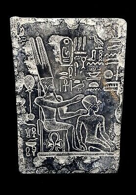 RARE ANCIENT EGYPTIAN PANEL FOR RAMSES II & NEFERTARI hieroglyphic Offertory