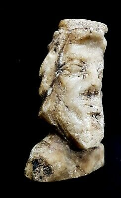 Rare Ancient Greek Terracotta Pretty Bust king Marble Ptolemaic egyptian Grecia
