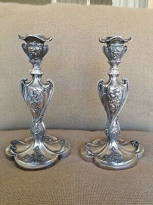 Beautiful Vintage Pairpoint Mfg. Co. Quadruple Plated Candlesticks