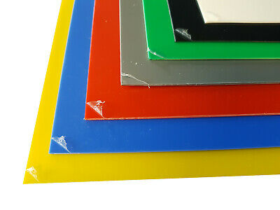 1.5mm HIPS Plastic Sheet Blue Red Yellow Green Grey Black & White A5, A4 & A3