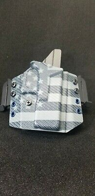 Kydex Holster, Glock 19 /19x /23/25/45 OWB  carbonfiber USA flag+grey CF spacial