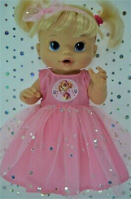 "Play n Wear Dolls Clothes To Fit 13"" Baby Alive PINK SEQUIN DRESS~HEADBAND"