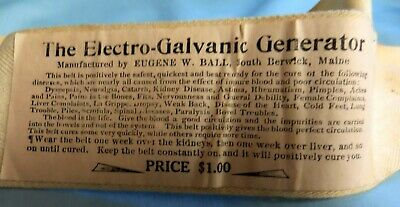 Rare Antique Electro-Galvanic Generator Belt Quack Medical Device Eugene W. Ball