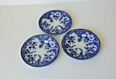 """Antique Wh Grindley Flow Blue 6 3/4"""" Plates, Marie Pattern, Three For One Price"""