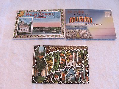 3 Vintage Fold Out Post Cards of Florida, Miami, & Palm Beach.