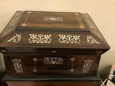 Regency Rosewood Sarcophagus shaped, Mother of Pearl inlaid Box