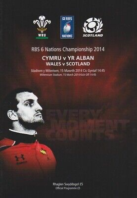 WALES v SCOTLAND 6 NATIONS RUGBY MINT PROGRAMME 15th MARCH 2014