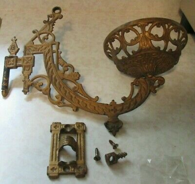 Antique Cast Iron Oil Lamp Wall Mount  - With Bracket And Hardware